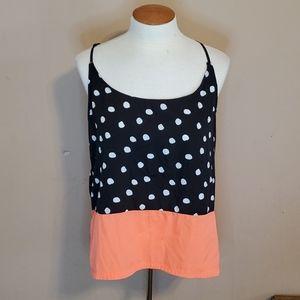 Hurley black, white, & orange polka dot tanktop Lg